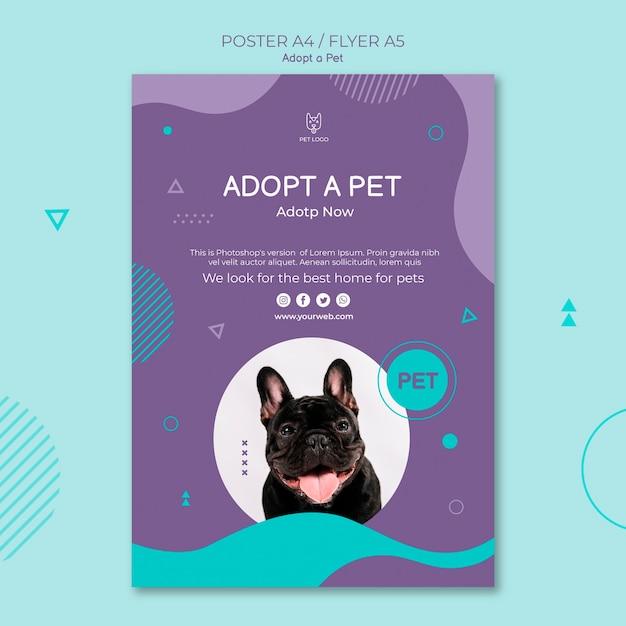 Adopta un diseño de póster cuadrado de concepto de mascota PSD gratuito