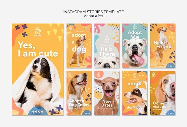 Adopta una mascota historias de instagram PSD gratuito