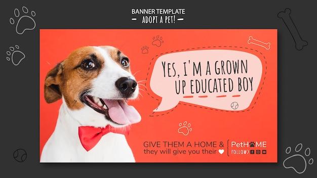 Adopta una plantilla de banner de amigo con foto de perro PSD gratuito