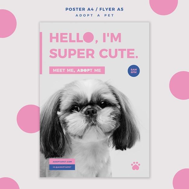 Adopteer een huisdierconcept poster sjabloon Gratis Psd