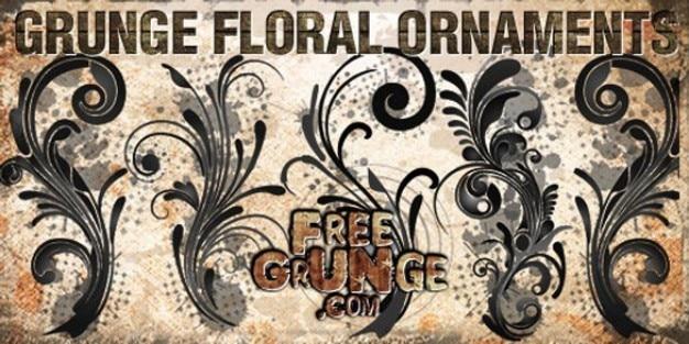 adornos de moda grunge floral psd Psd Gratis