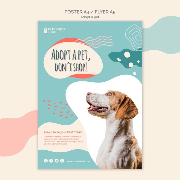 Adotta un design volantino per poster per animali domestici Psd Gratuite