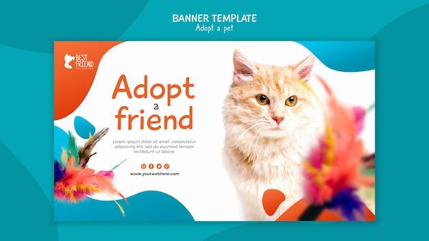 Adotta un modello di banner amico birichino gattino Psd Gratuite