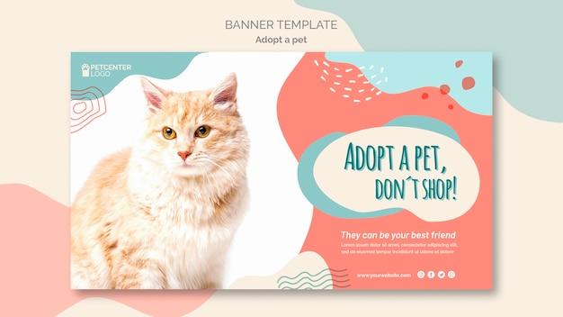 Adotta un modello di banner per animali domestici con il gatto Psd Gratuite
