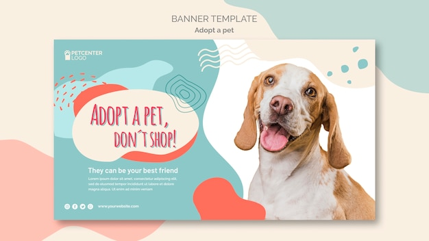 Adotta un modello di banner per animali domestici Psd Gratuite