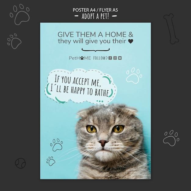 Adotta un modello di poster amico con la foto del gatto Psd Gratuite