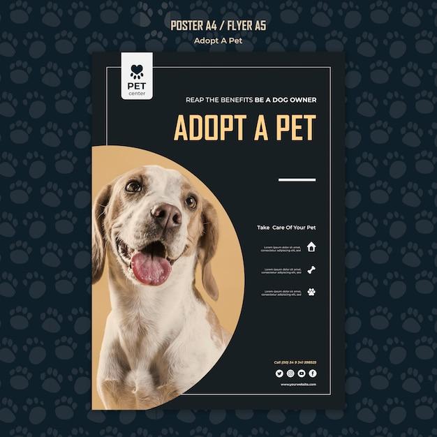 Adotta un modello di poster del concetto di animale domestico Psd Gratuite