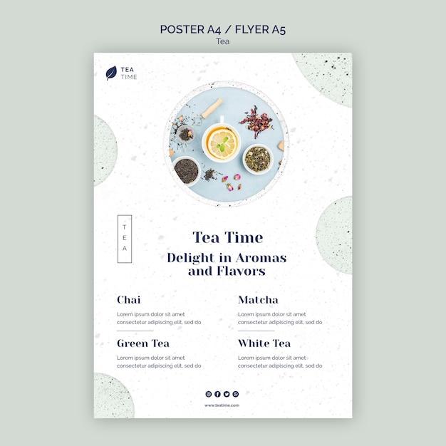 Affiche voor aromatische theetijd Gratis Psd