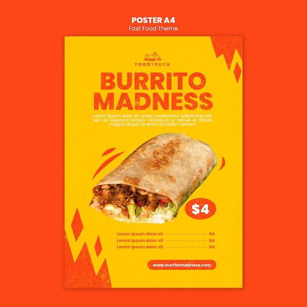 Affiche voor fastfoodrestaurant Gratis Psd