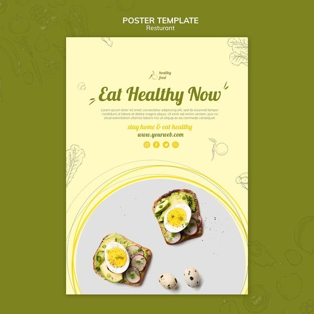 Affiche voor gezond ontbijt met broodjes Gratis Psd