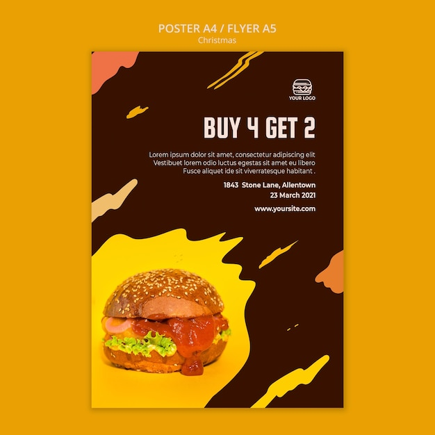 Affiche voor hamburgerrestaurant Gratis Psd