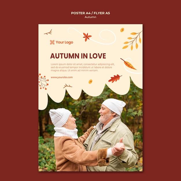 Affiche voor het verwelkomen van het herfstseizoen Gratis Psd