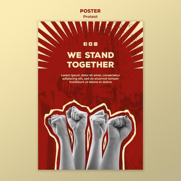 Affichemalplaatje met het protesteren voor mensenrechten Gratis Psd