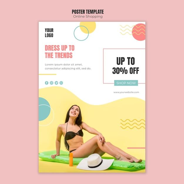 Affichemalplaatje met online het winkelen concept Gratis Psd