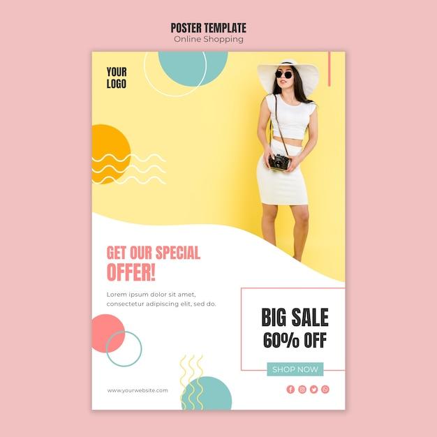 Affichemalplaatje met online winkelend thema Gratis Psd