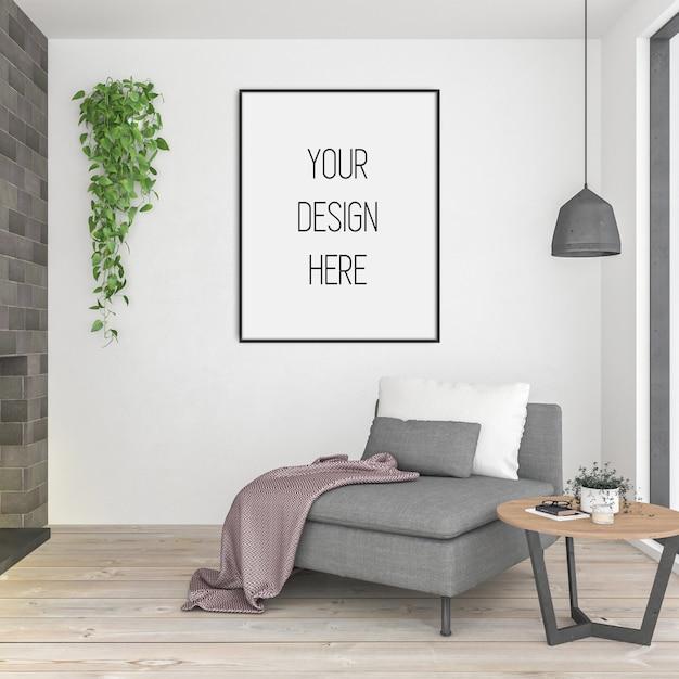 Affichemodel, woonkamer met verticale lijst Premium Psd
