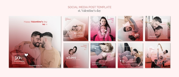 Aftelkalender voor valentijnsdag homoseksualiteit sociale media post sjabloon Gratis Psd