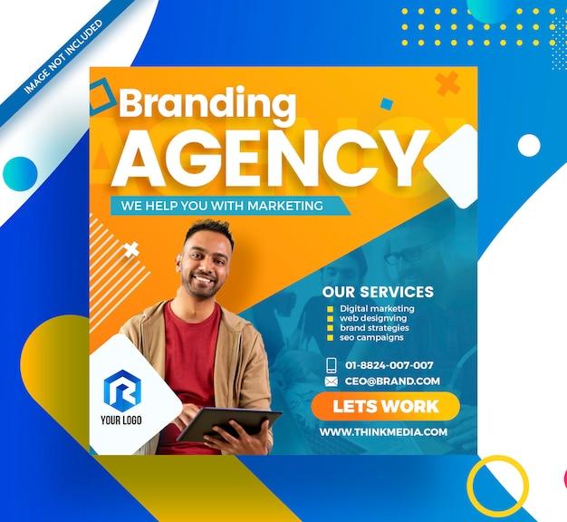 Agencia de branding corporate social media modern banner PSD Premium