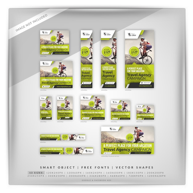 Agencia de viajes marketing banner set PSD Premium