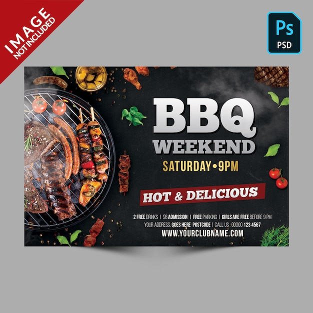 Aletta di filatoio orizzontale modello di barbecue scuro weekend Psd Premium