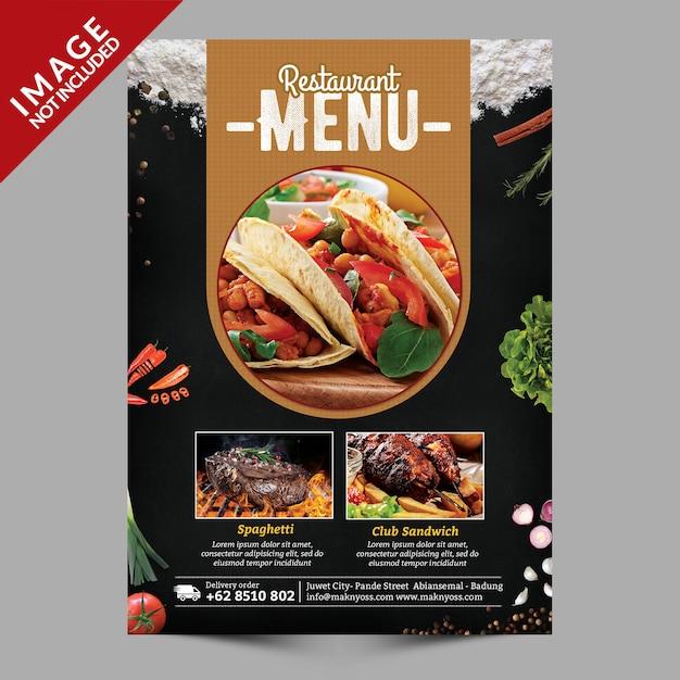 Aletta di menu dell'alimento Psd Premium