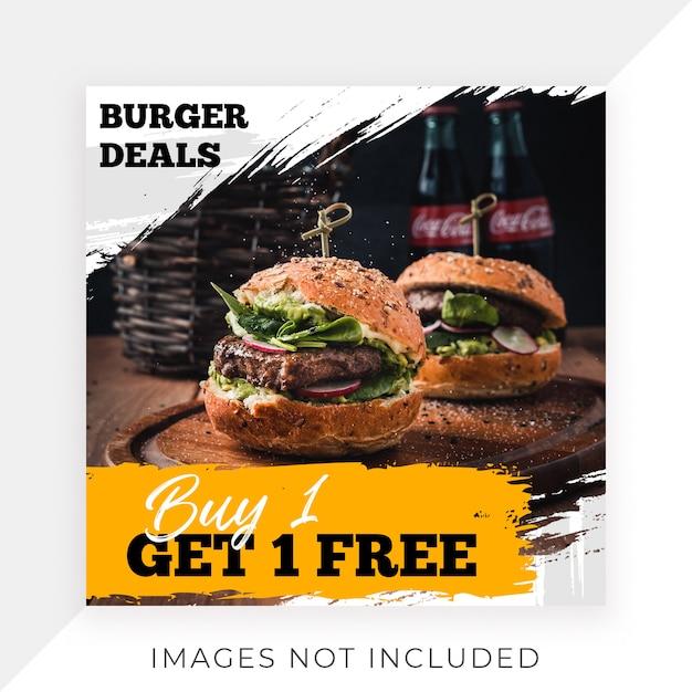 Alimento instagram post template banner restaurant Psd Premium