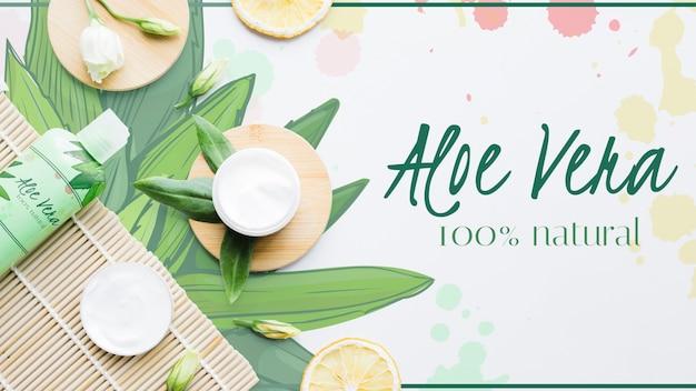 Aloe vera fresca con prodotti Psd Gratuite