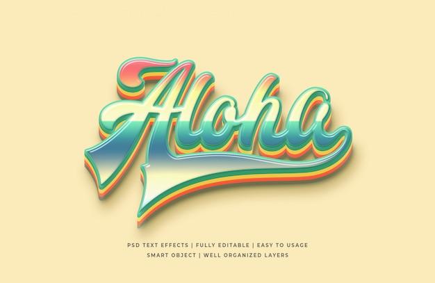 Aloha efecto de estilo de texto 3d PSD Premium