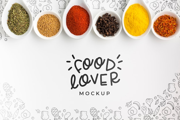 Amante del cibo e ciotole piene di spezie mock-up Psd Gratuite