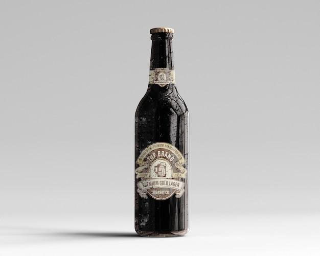Amber glazen bierfles mockup met waterdruppels - vooraanzicht Premium Psd