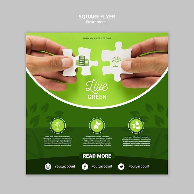 Ambiente verde vivo con modello di volantino quadrato pezzi di puzzle Psd Gratuite