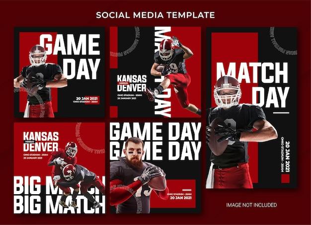 American football social media bericht bundelsjabloon Premium Psd