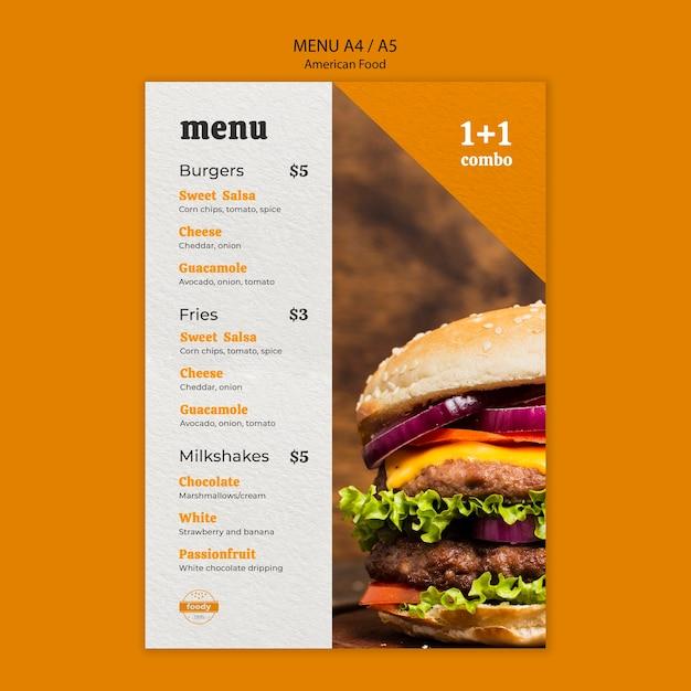 Amerikaans combi-menu met fastfood en friet Gratis Psd