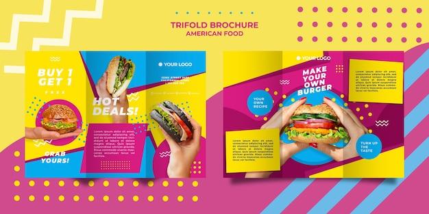 Amerikaans eten driebladige brochure sjabloon Gratis Psd