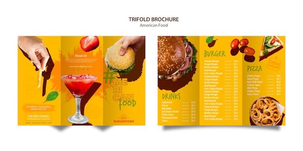 Amerikaans eten driebladige brochureontwerp Gratis Psd