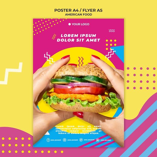 Amerikaans eten flyer sjabloon met foto Gratis Psd