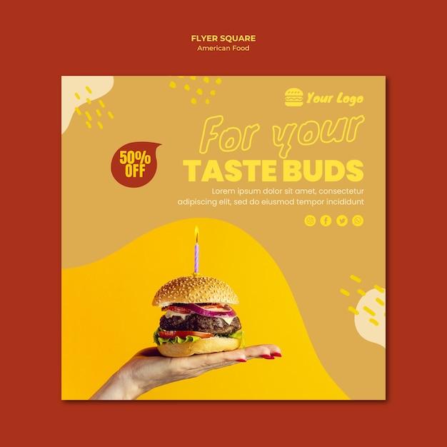 Amerikaans eten flyer sjabloon thema Gratis Psd