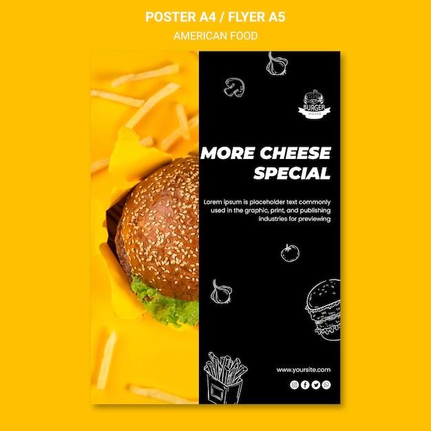 Amerikaans eten flyer-sjabloon Gratis Psd