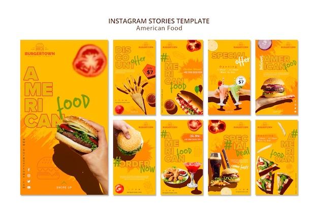 Amerikaans eten instagram verhalen sjabloon Gratis Psd
