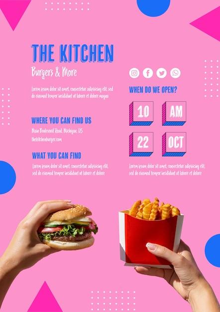 Amerikaans eten menu met hamburger en friet Gratis Psd