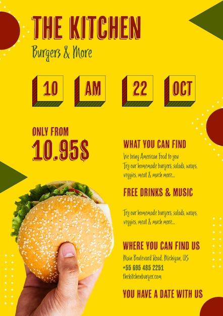 Amerikaans eten menu met hamburger Gratis Psd