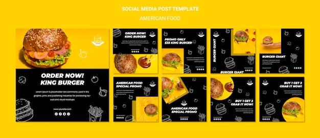 Amerikaans eten op sociale media plaatsen Gratis Psd