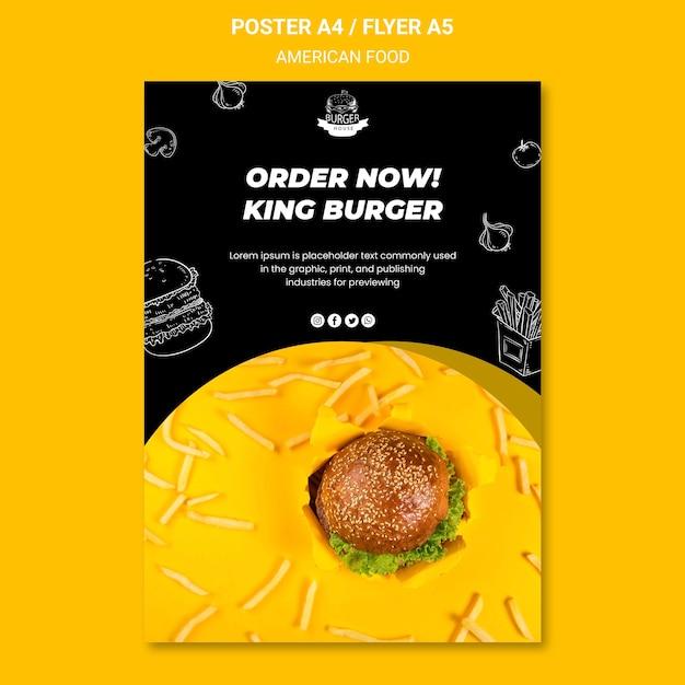 Amerikaans eten poster sjabloon concept Gratis Psd