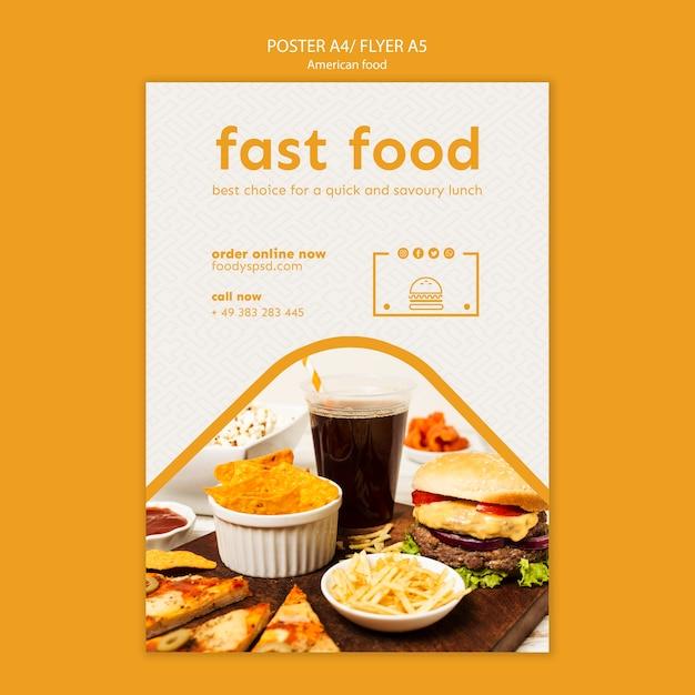 Amerikaans eten poster sjabloon Gratis Psd