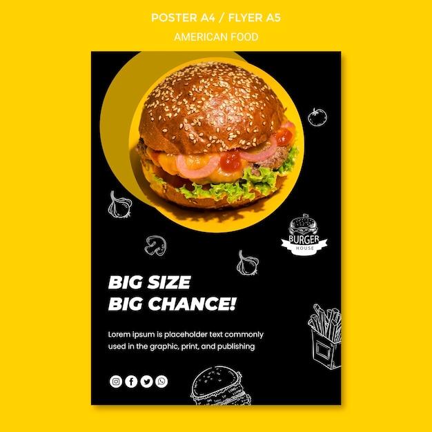 Amerikaans eten poster sjabloonontwerp Gratis Psd
