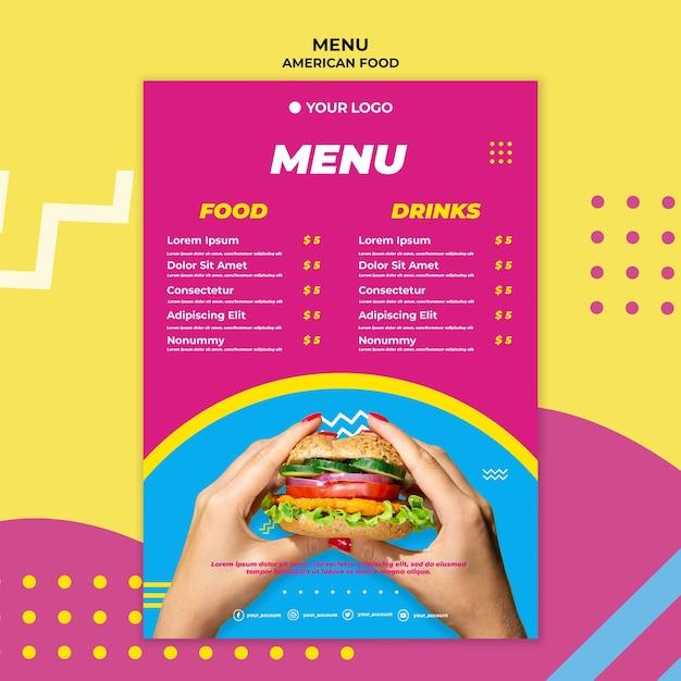 Amerikaans eten restaurant menusjabloon Gratis Psd