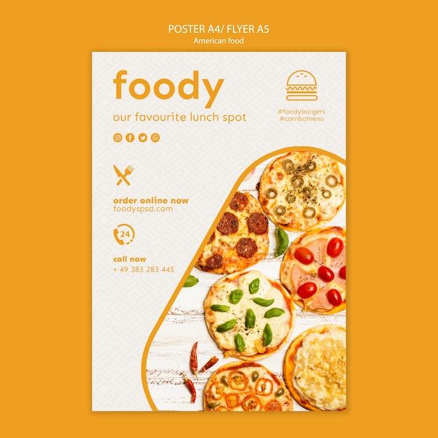 Amerikaans eten sjabloon poster Gratis Psd