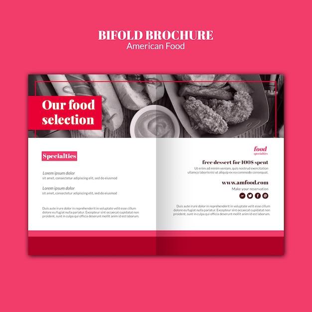 Amerikaans eten tweevoudige brochure sjabloon Gratis Psd