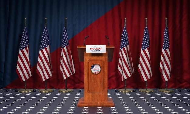 Amerikaans verkiezingspodium met vlaggenmodel Gratis Psd