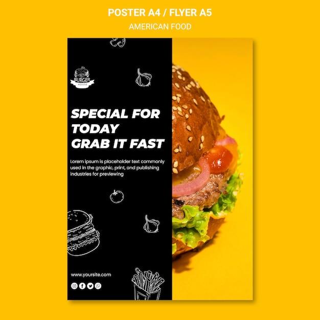 Amerikaans voedsel flyer sjabloon thema Gratis Psd